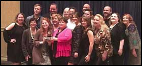The cast and crew of Vanya and Sonia and Masha and Spike with the SETC Best Production Award